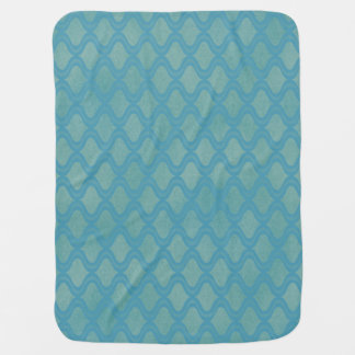 Wavy Green & Blue Chevron Stroller Blanket