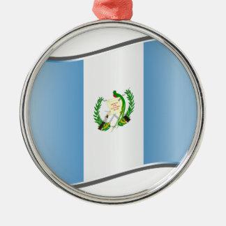 Wavy Guatemala Flag Christmas Tree Ornaments