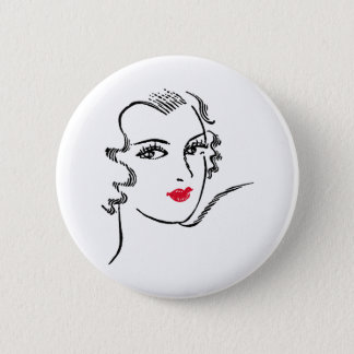 Wavy Hair and Red Lips Button