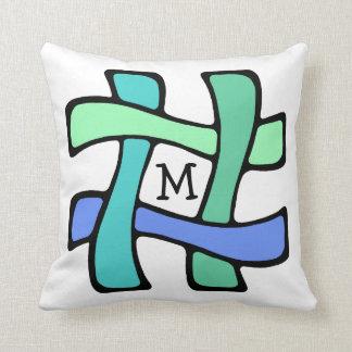 Wavy # Hashtag Personalized Monogram Social Media Throw Pillow