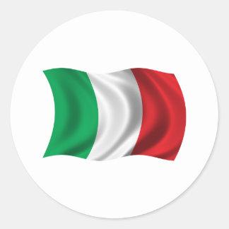Wavy Italy Flag Classic Round Sticker