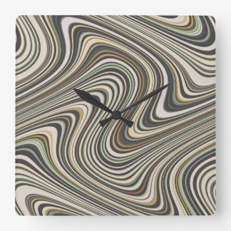 Wavy Line Pattern Square Wall Clock