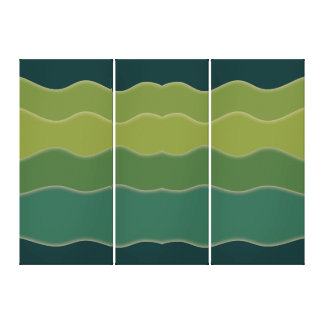 Wavy Lines Green Canvas Print