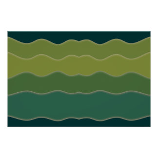 Wavy Lines Green Poster