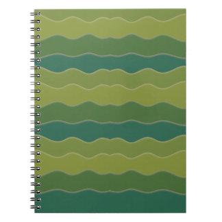 Wavy Lines Green Spiral Notebook
