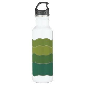 Wavy Lines Green Stainless Steel Water Bottle