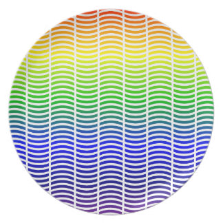 Wavy Lines in Rainbow Colors Party Plate