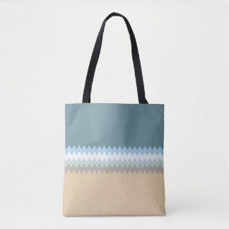 Wavy Lines - Light Brown/Sand/Beige/Turquoise/Blue Tote Bag