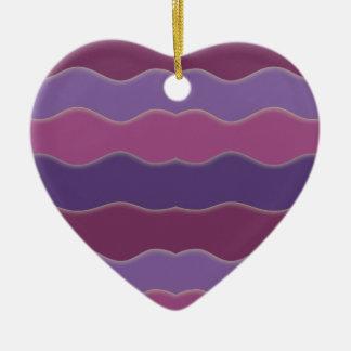Wavy Lines Purple Heart Ornament