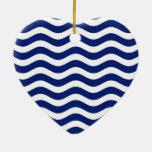 Wavy Navy Stripes Christmas Ornament