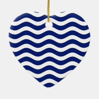 Wavy Navy Stripes decor Ceramic Ornament