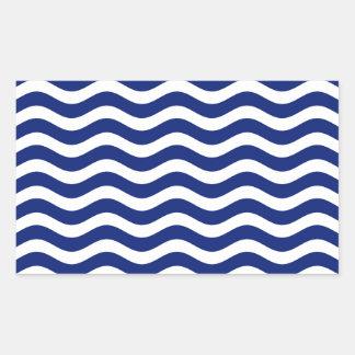 Wavy Navy Stripes decor Rectangular Sticker