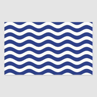 Wavy Navy Stripes Rectangular Stickers