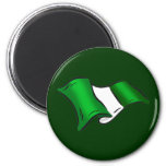 Wavy Nigerian flag for Nigeria admirers 2 Inch Round Magnet