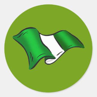 Wavy Nigerian flag for Nigeria admirers Classic Round Sticker