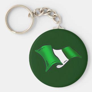 Wavy Nigerian flag for Nigeria admirers Keychain
