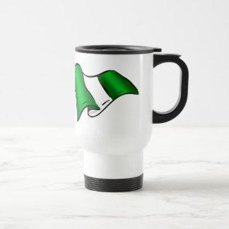 Wavy Nigerian flag for Nigeria admirers 15 Oz Stainless Steel Travel Mug