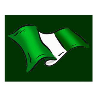 Wavy Nigerian flag for Nigeria admirers Postcard