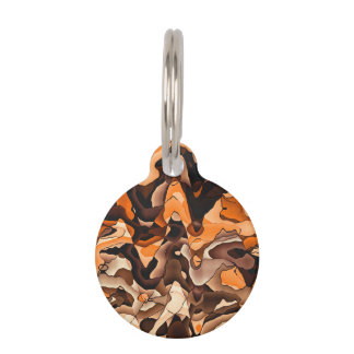 Wavy orange and brown pet tag