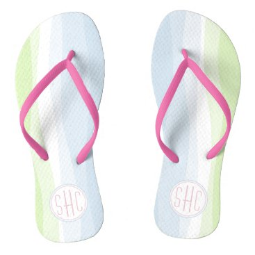 Beach Themed Wavy Pastel Blue & Green Monogram Flip Flops