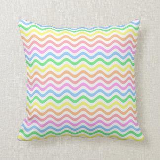 Wavy Pastel Lines Throw Pillow