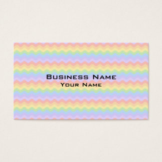 Wavy Pastel Rainbow Stripes Business Card