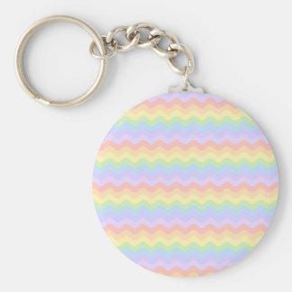 Wavy Pastel Rainbow Stripes Key Chain