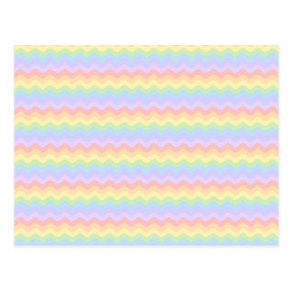 Wavy Pastel Rainbow Stripes Postcard