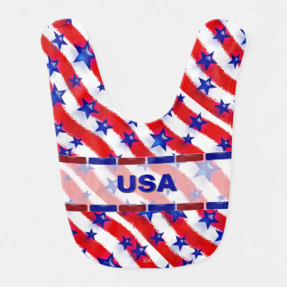 Wavy Patriotic Blue Stars Over Red & White Stripes Bib