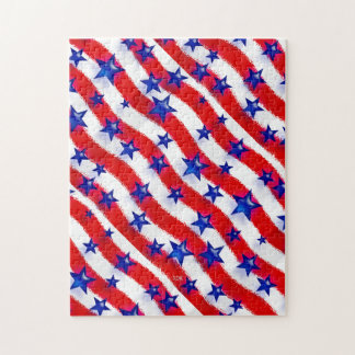 Wavy Patriotic Blue Stars Over Red & White Stripes Jigsaw Puzzle