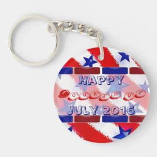 Wavy Patriotic Blue Stars Over Red & White Stripes Keychain