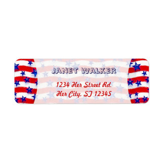 Wavy Patriotic Blue Stars Over Red & White Stripes Label