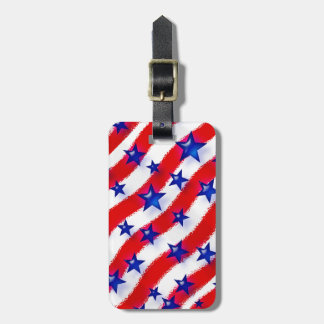 Wavy Patriotic Blue Stars Over Red & White Stripes Luggage Tag