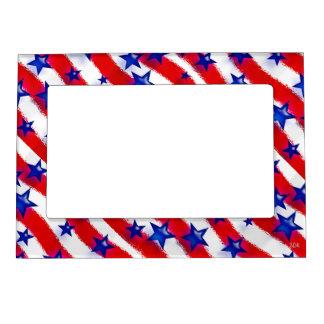 Wavy Patriotic Blue Stars Over Red & White Stripes Magnetic Photo Frame