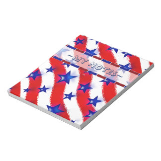 Wavy Patriotic Blue Stars Over Red & White Stripes Notepad