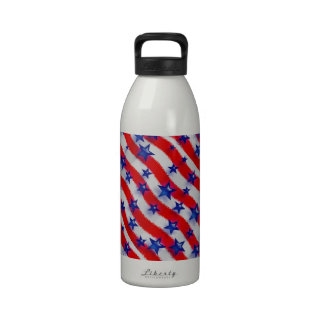 Wavy Patriotic Blue Stars Over Red & White Stripes Reusable Water Bottle