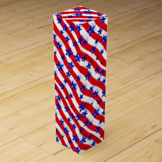 Wavy Patriotic Blue Stars Over Red & White Stripes Wine Box
