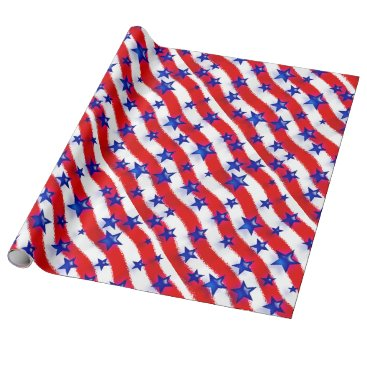 DelaineK Wavy Patriotic Blue Stars Over Red & White Stripes Wrapping Paper