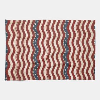 Wavy Patriotic Pattern Kitchen Towel
