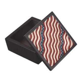 Wavy Patriotic Pattern Wood Gift Box Premium Keepsake Box