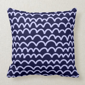 Wavy Pattern - Powder Blue on Deep Navy 000033 Throw Pillow