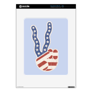 Wavy Peace Flag Hand Skins For iPad