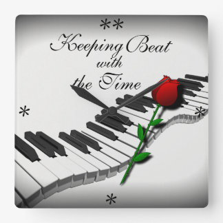Wavy Piano Keys & Red Rose - Custom Clock