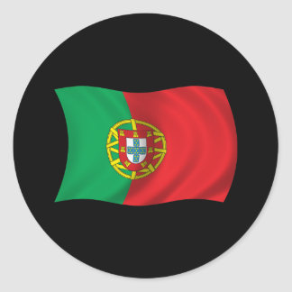 Wavy Portugal Flag Classic Round Sticker