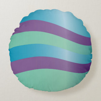 Wavy Purple And Turquoise Stripes Round Pillow