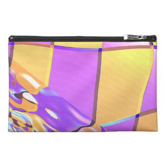 Wavy Purple Yellow Checkers Travel Accessory Bags