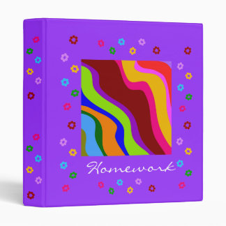 Wavy Rainbow and Daisies- Avery Binder