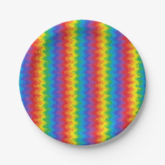 Wavy Rainbow Paper Plates 7 Inch Paper Plate