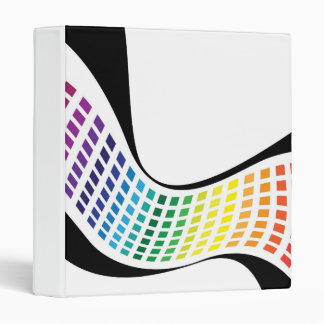 Wavy Rainbow Squares Abstract Layout 3 Ring Binder