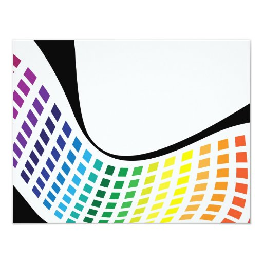 Wavy Rainbow Squares Abstract Layout Announcement